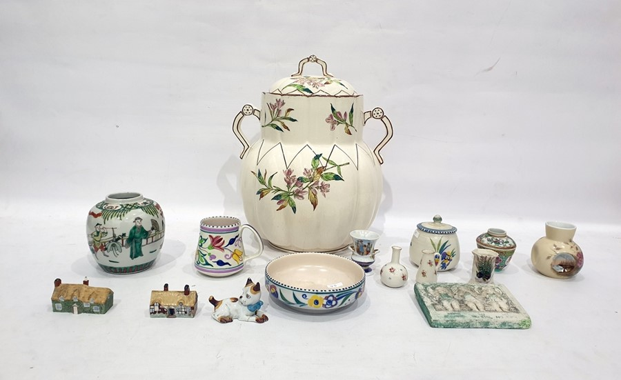 Lot 45 - Large late Victorian two-handled jar and cover with printed floral decoration, a Poole pottery mug