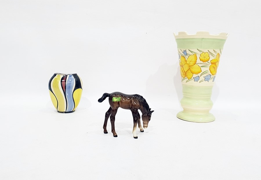 Lot 5 - Burleighware ribbed flared rim vasewith daffodil hand-painted decoration, anotheranda Beswick