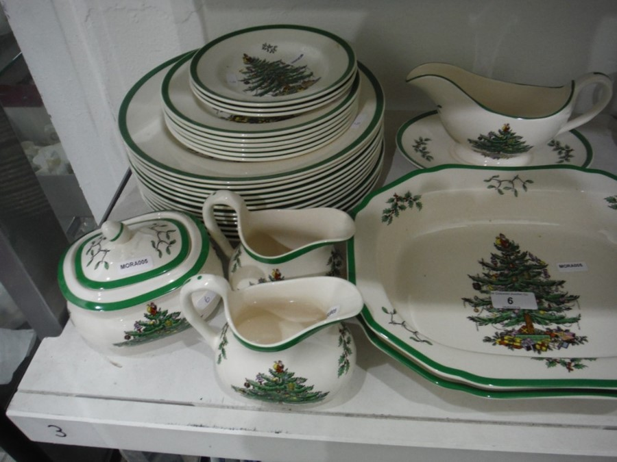 Lot 6 - Large quantity of Spode pottery 'Christmas Tree' pattern dinnerware to include serving dishes,
