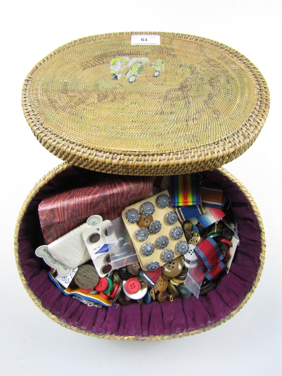 Lot 19 - A Japanese woven sewing box with a quantity of buttons