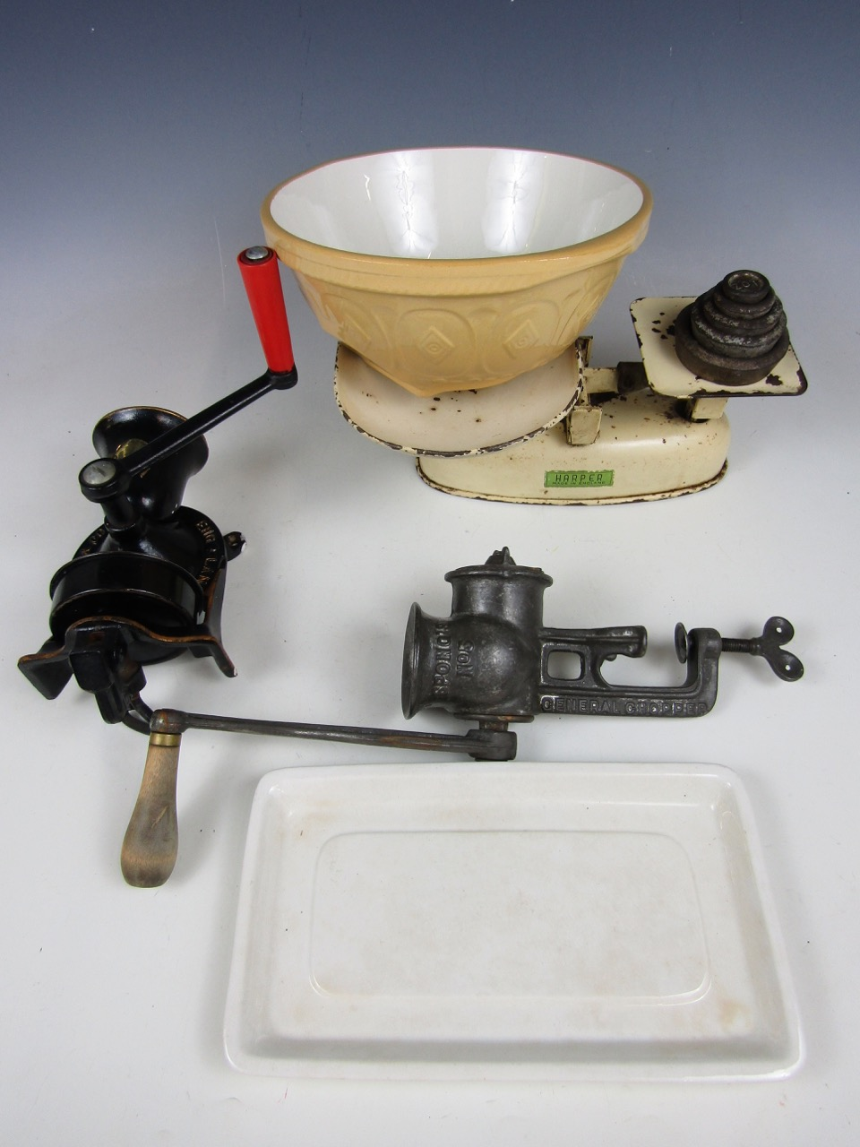 Lot 34 - A set of vintage Harper kitchen scales with weights together with a coffee grinder, a mincer, a
