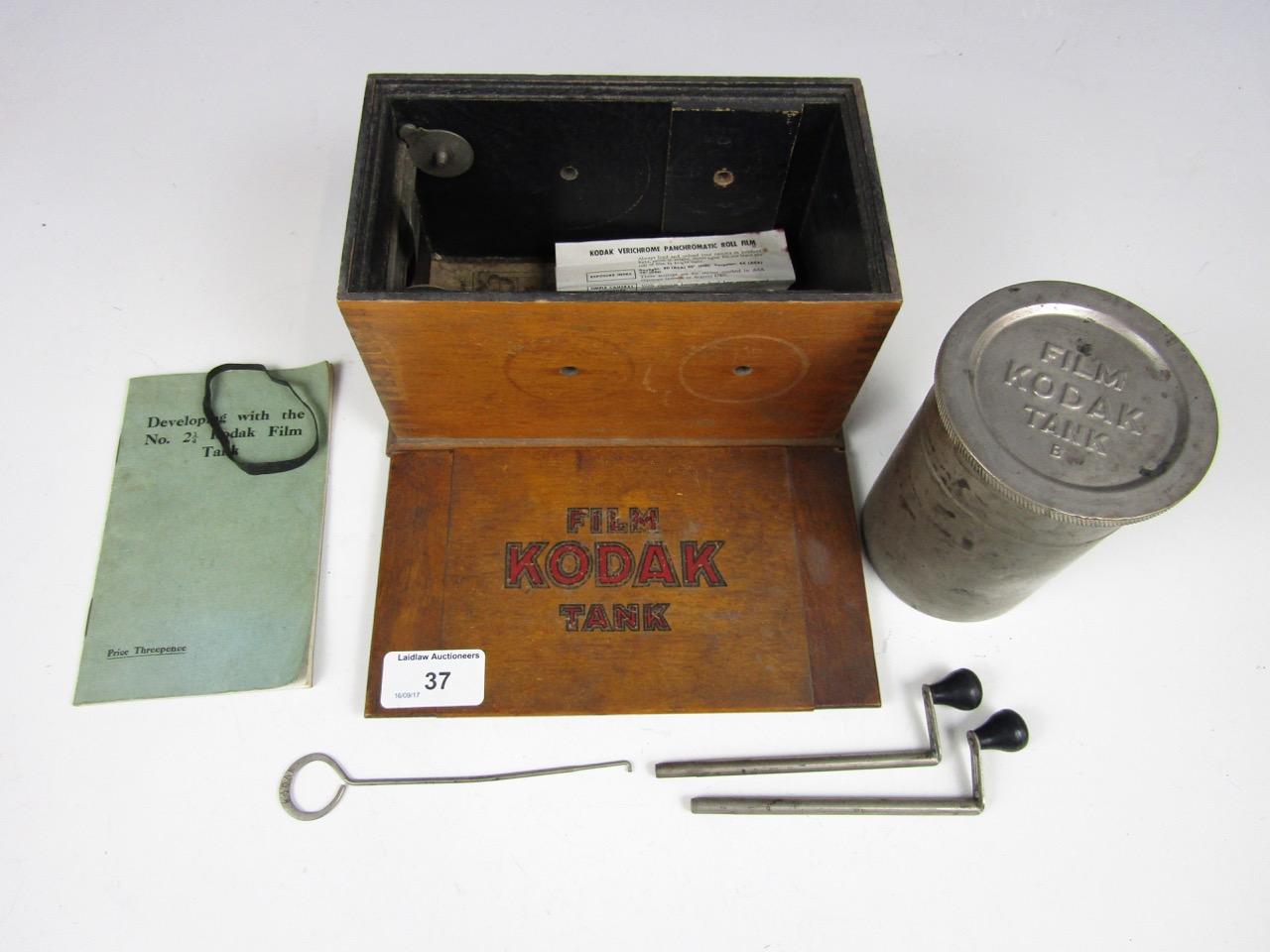 Lot 37 - An early 20th century Kodak film developing tank in wooden case