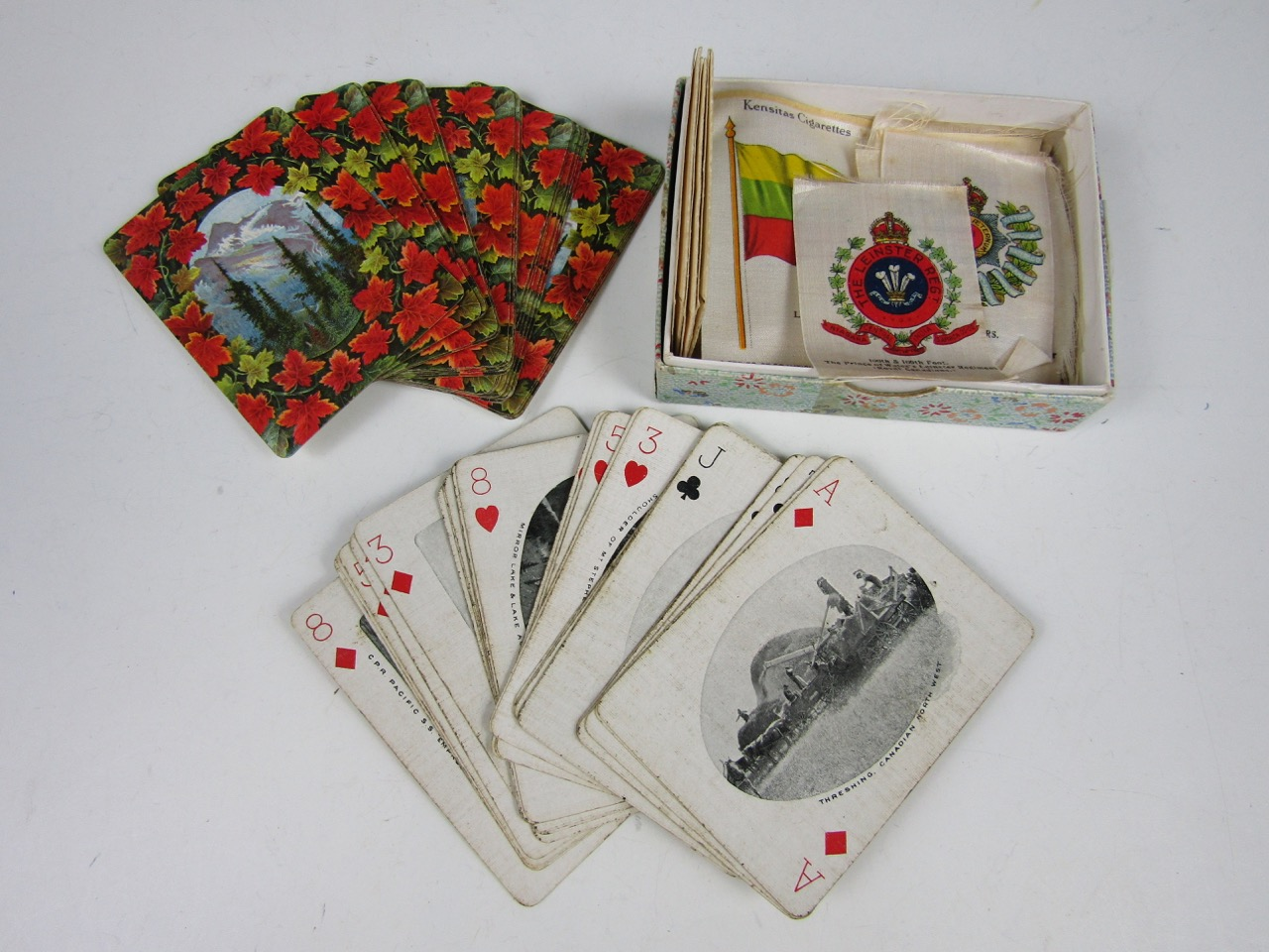 Lot 5 - Vintage Canadian playing cards together with silk cigarette cards etc