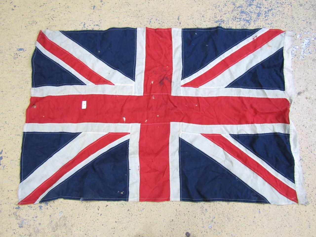 Lot 7 - A vintage cotton Union Jack flag of multi-piece construction