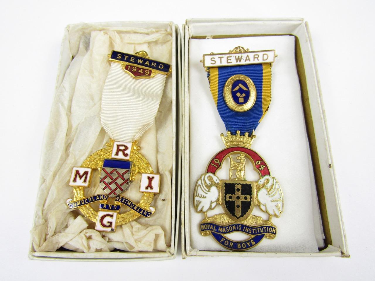 Lot 60 - Two Royal Masonic Institute medallions