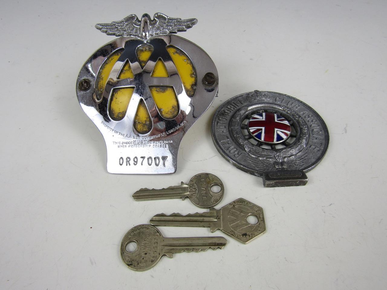 Lot 57 - RAC and AA bumper badges etc