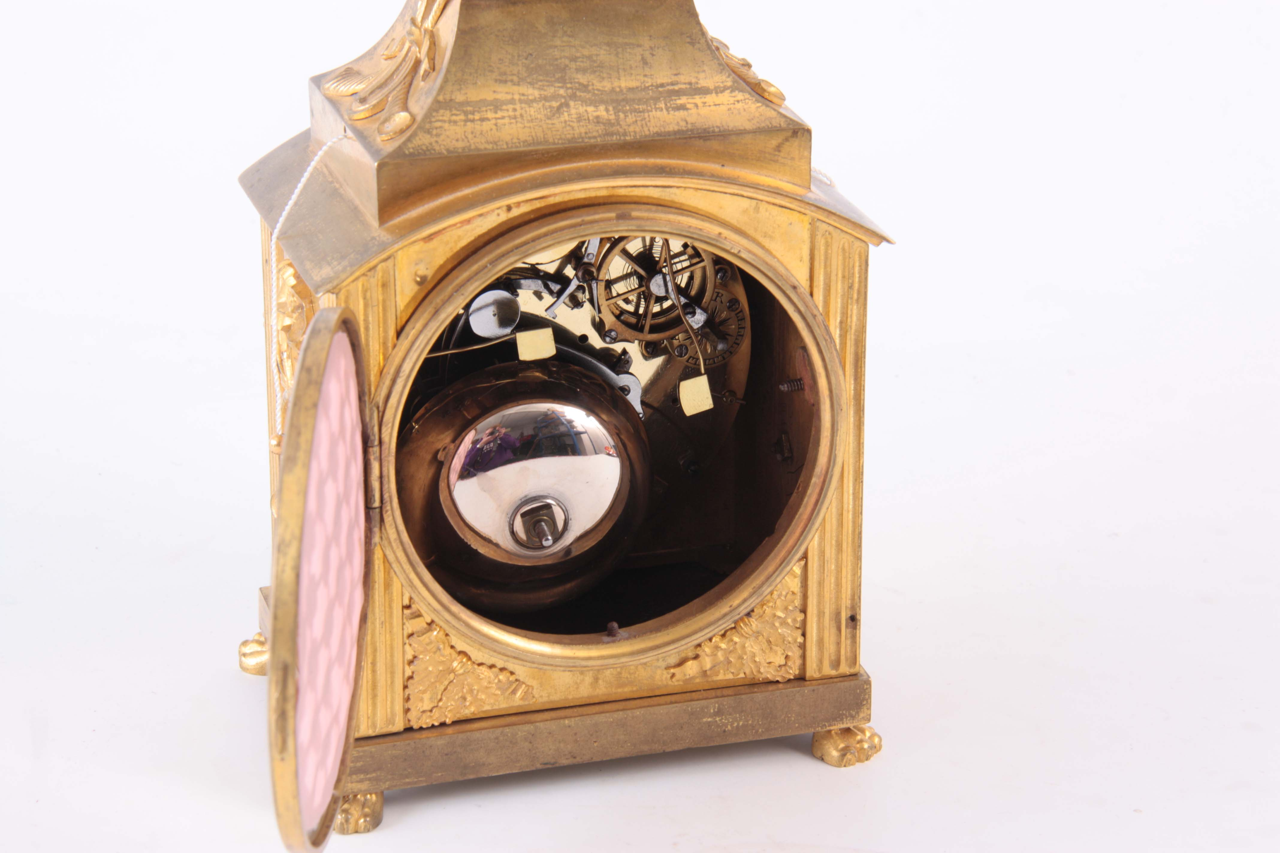 AN 18th CENTURY SWISS PENDULE D'OFFICIERS CARRIAGE CLOCK the ormolu case with applied mounts - Image 4 of 4