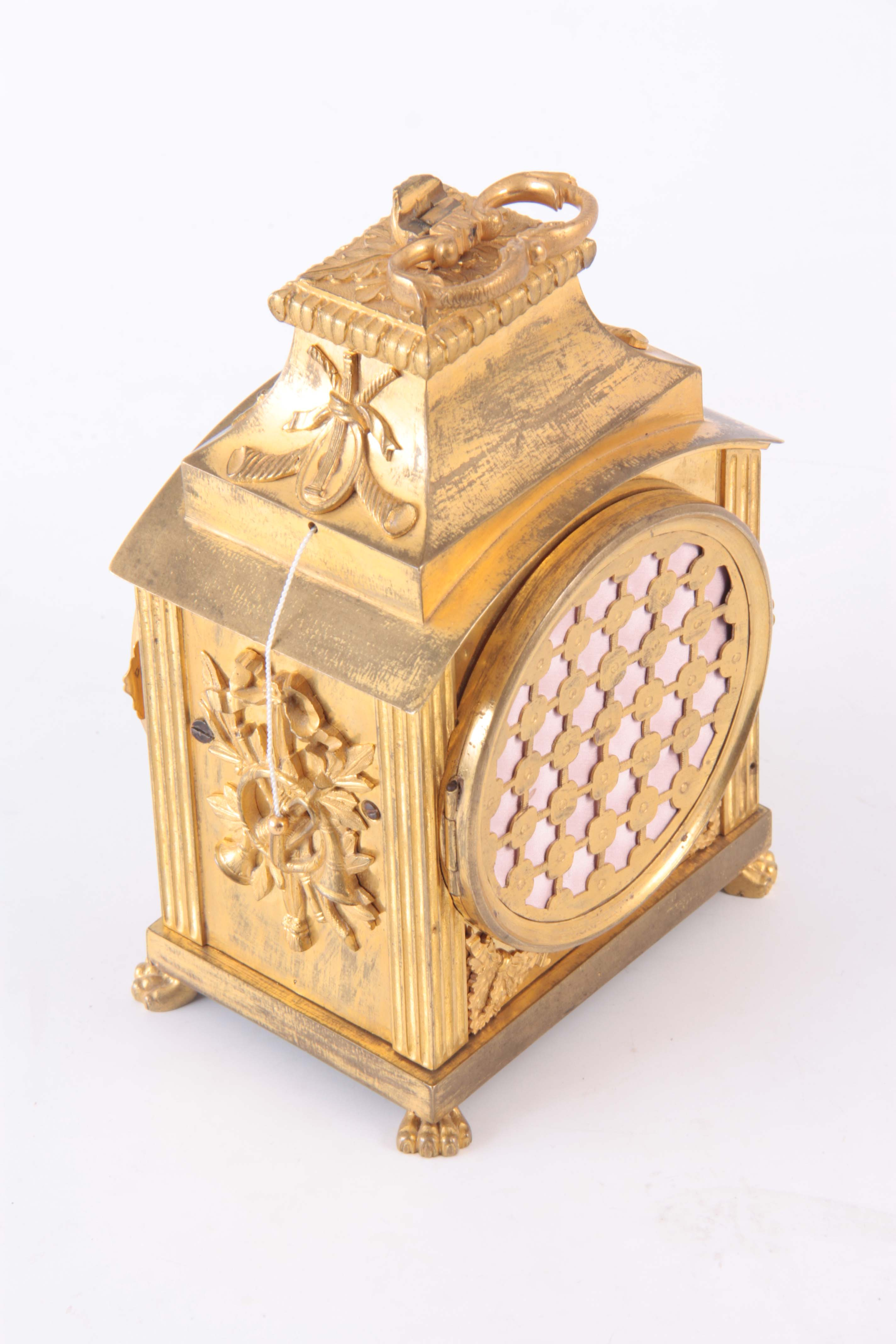 AN 18th CENTURY SWISS PENDULE D'OFFICIERS CARRIAGE CLOCK the ormolu case with applied mounts - Image 3 of 4