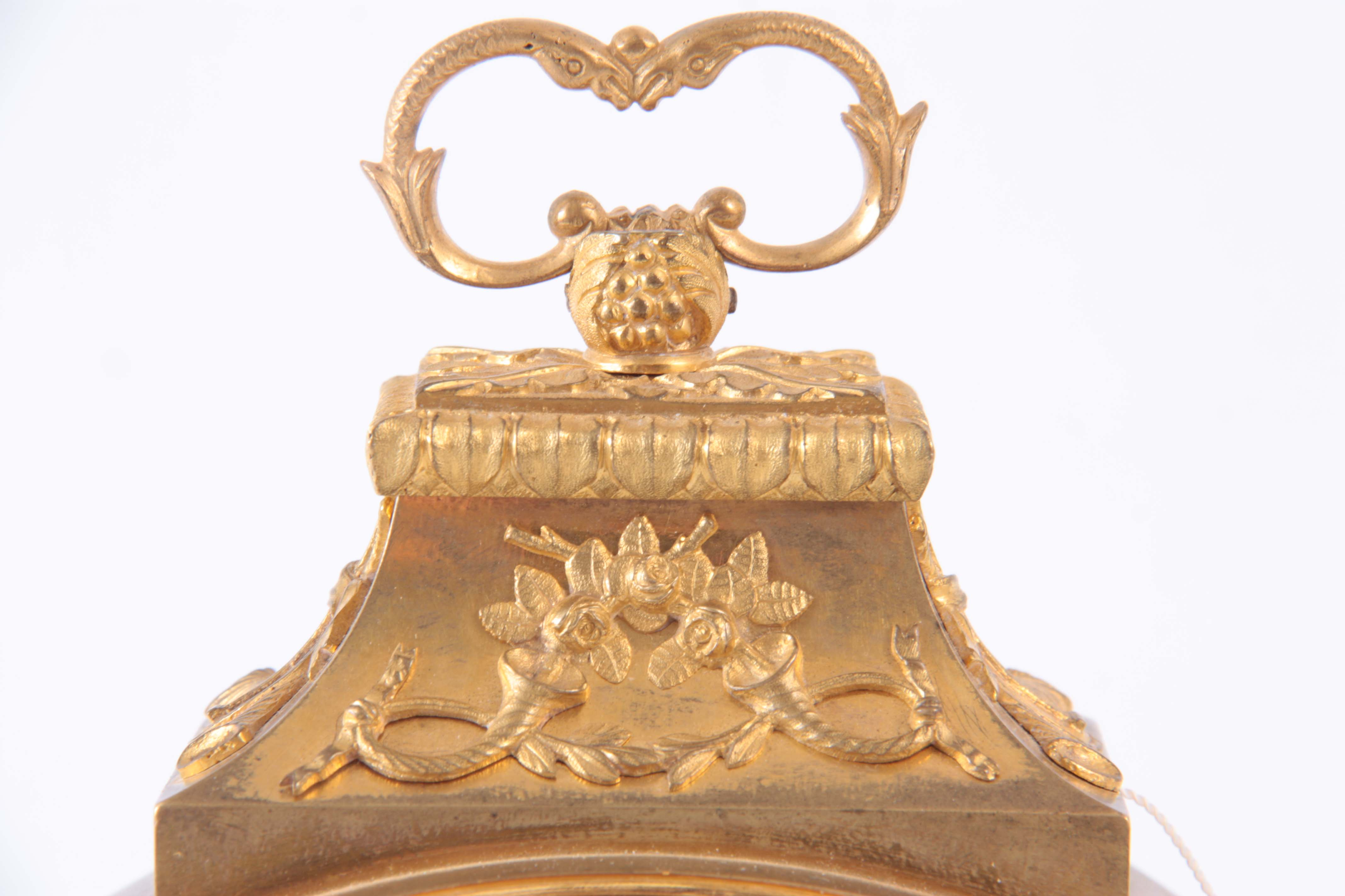 AN 18th CENTURY SWISS PENDULE D'OFFICIERS CARRIAGE CLOCK the ormolu case with applied mounts - Image 2 of 4