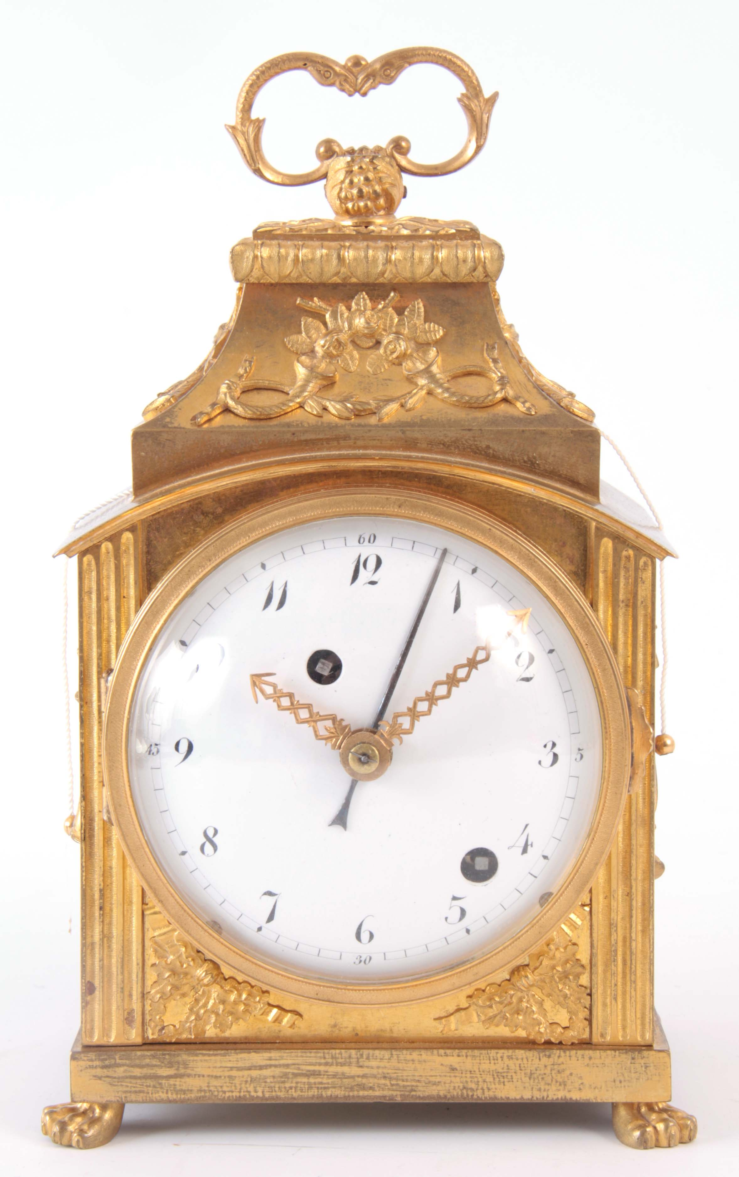 AN 18th CENTURY SWISS PENDULE D'OFFICIERS CARRIAGE CLOCK the ormolu case with applied mounts