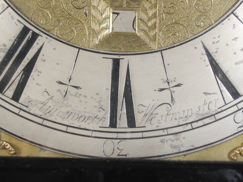 Lot 6 - A 17th century ebonised longcase clock, Aynsworth, Westminster, the brass dial with silvered chapter