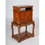 Lot 68 - A late 19th century kingwood, marquetry and ormolu mounted library book stand cabinet, the hinged