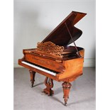 Lot 10 - A walnut cased boudoir grand piano, F. Kaim & Shone, Kirchheim, Stuttgart, raised on tapered