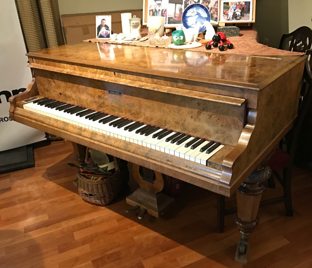 Lot 9 - WITHDRAWN - walnut cased boudoir grand piano Hagspiel & Comp. Dresden, raised on tapered octagonal