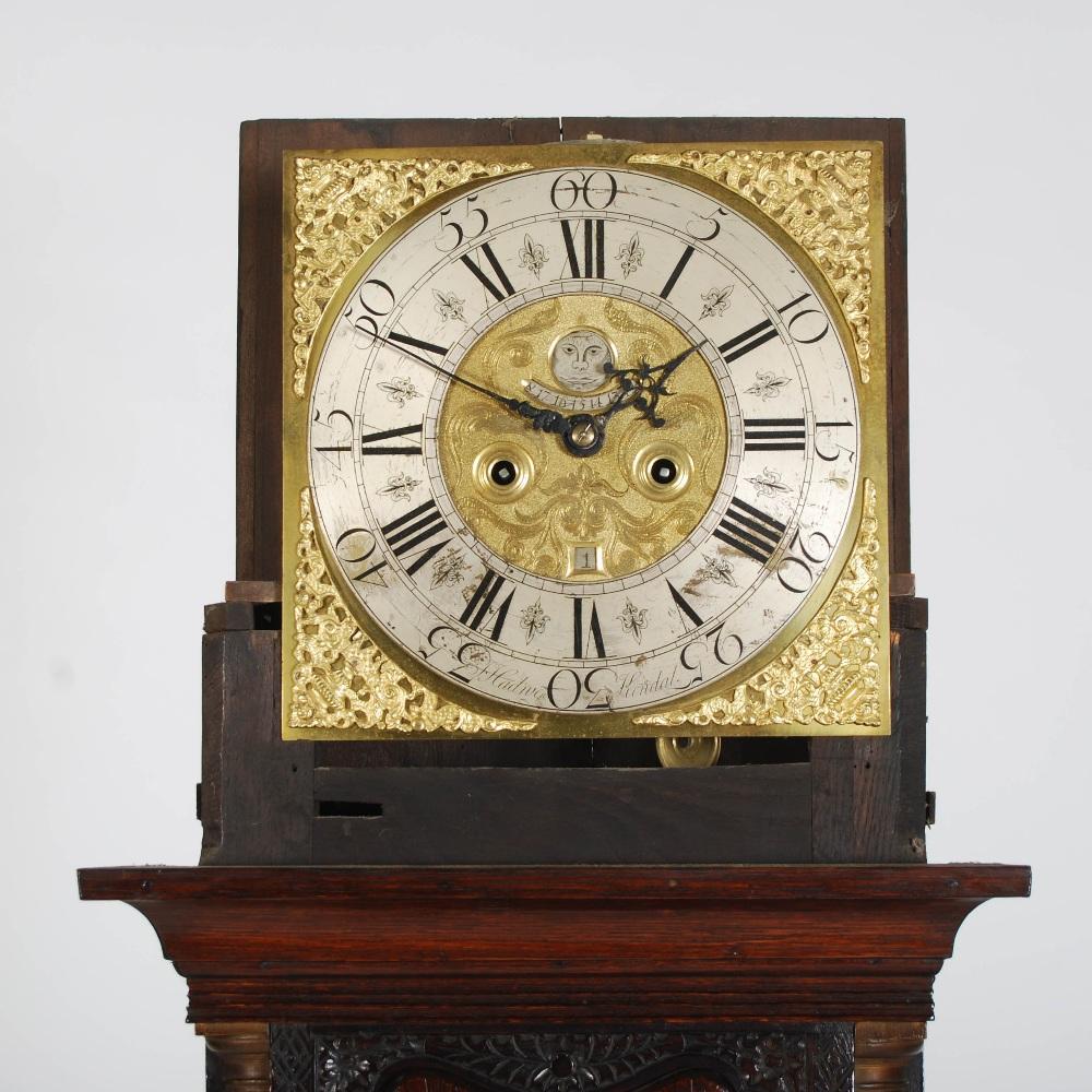 Lot 8 - An oak long case clock, J. Hadruen, Kendal, the brass dial with silvered chapter ring bearing Arabic
