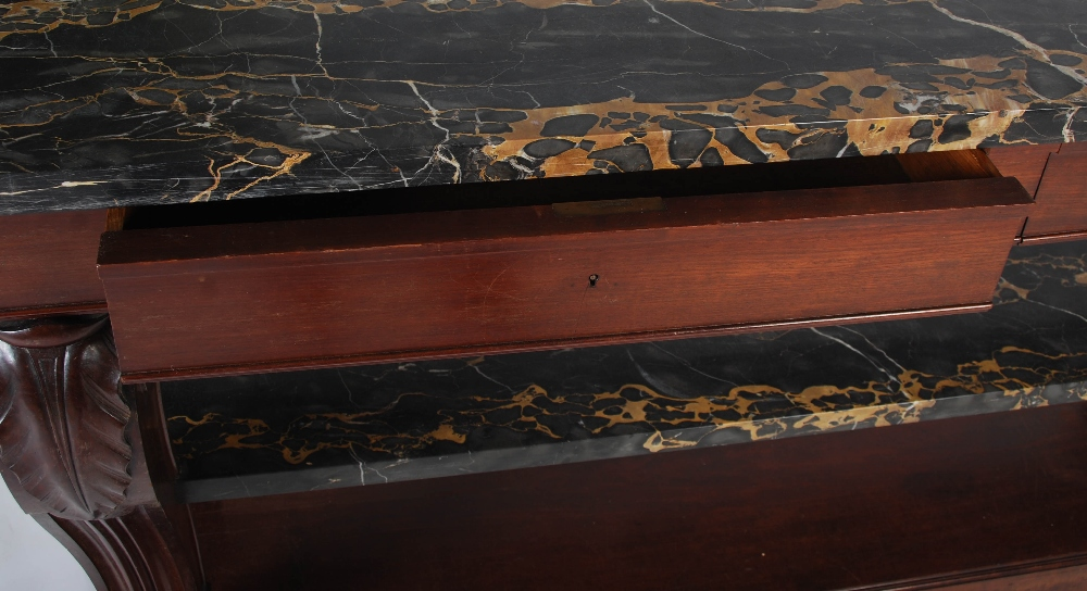 Lot 78 - A 19th century French mahogany console table stamped L. Dromard, Paris, the black marble top above a