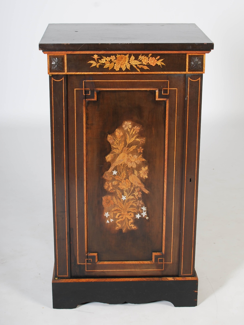 Lot 95 - A Victorian ebonised and marquetry inlaid side cabinet, the rectangular top above a frieze inlaid