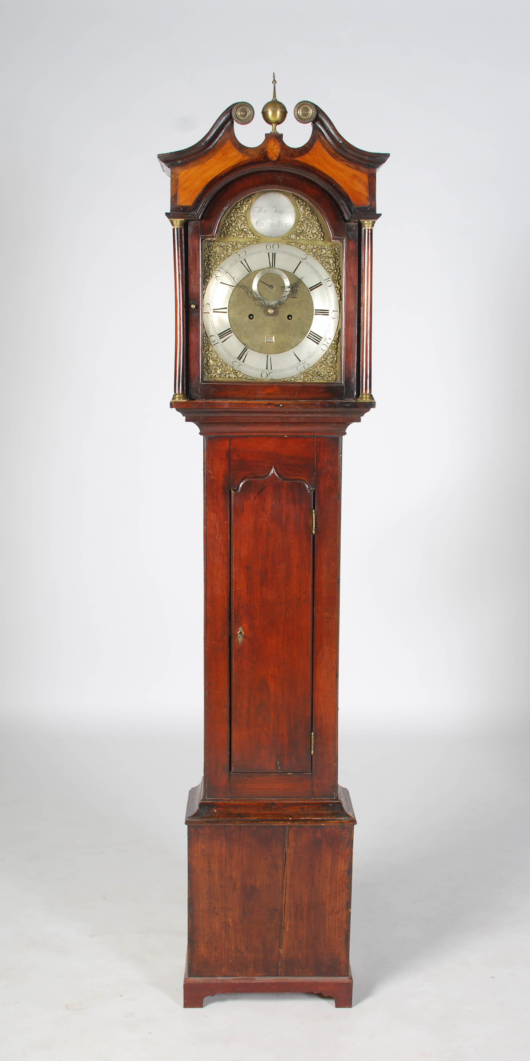 Lot 5 - A George III mahogany longcase clock, Alexr. Ferguson, Coupar of Fife, the brass dial with silver
