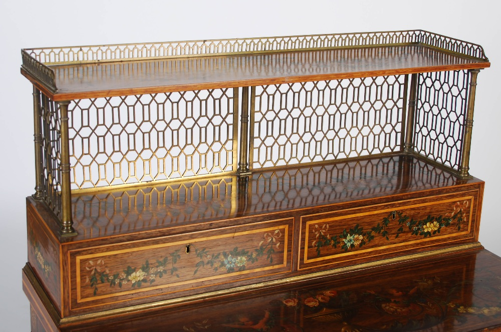 Lot 18 - A 19th century painted rosewood and boxwood lined bonheur du jour, the rectangular top with