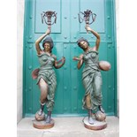 Lot 93 - A pair of decorative 20th century cold painted bronze figural torcheres, modelled as maidens with