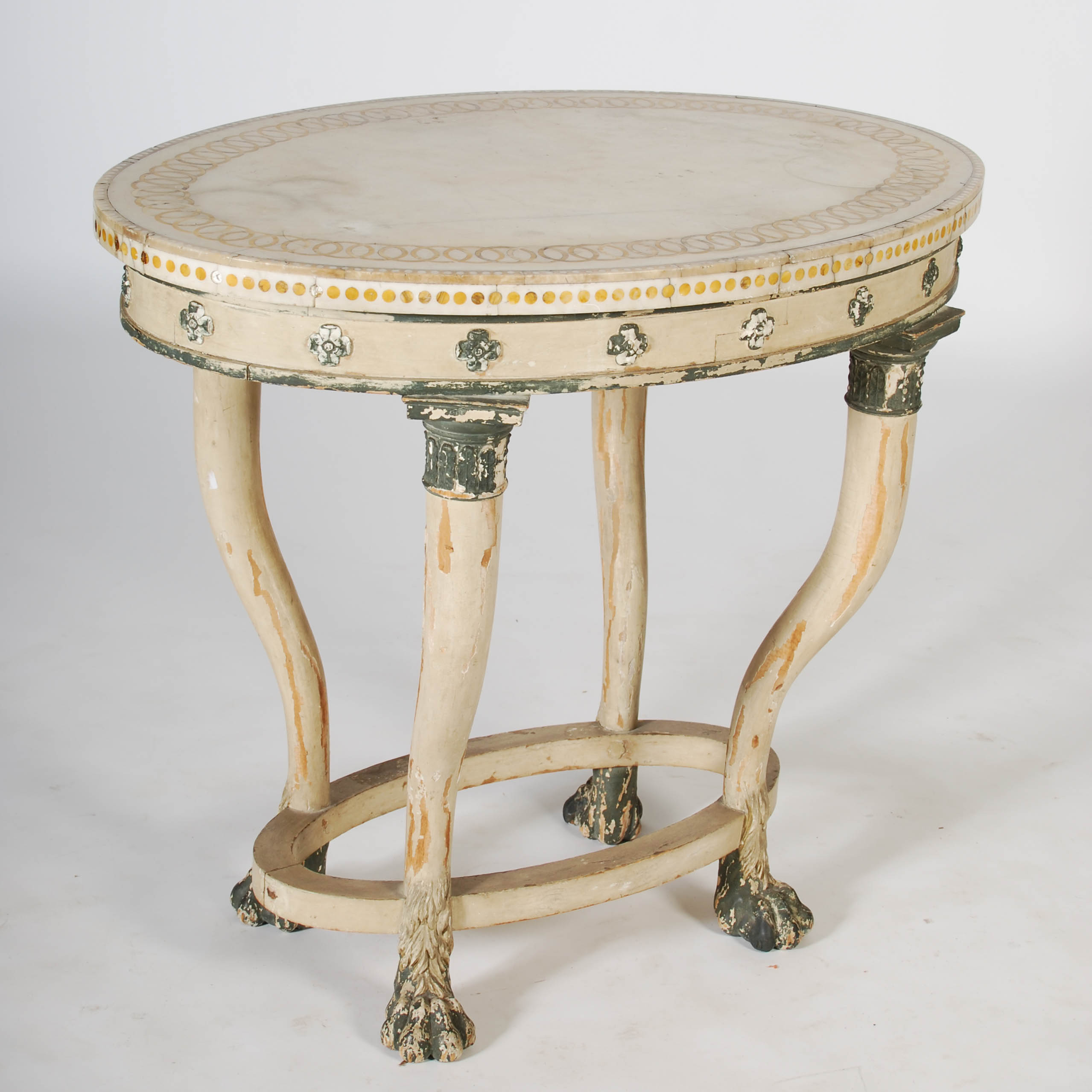 Lot 105 - A 19th century North European painted oval centre table, the white marble with an inlaid