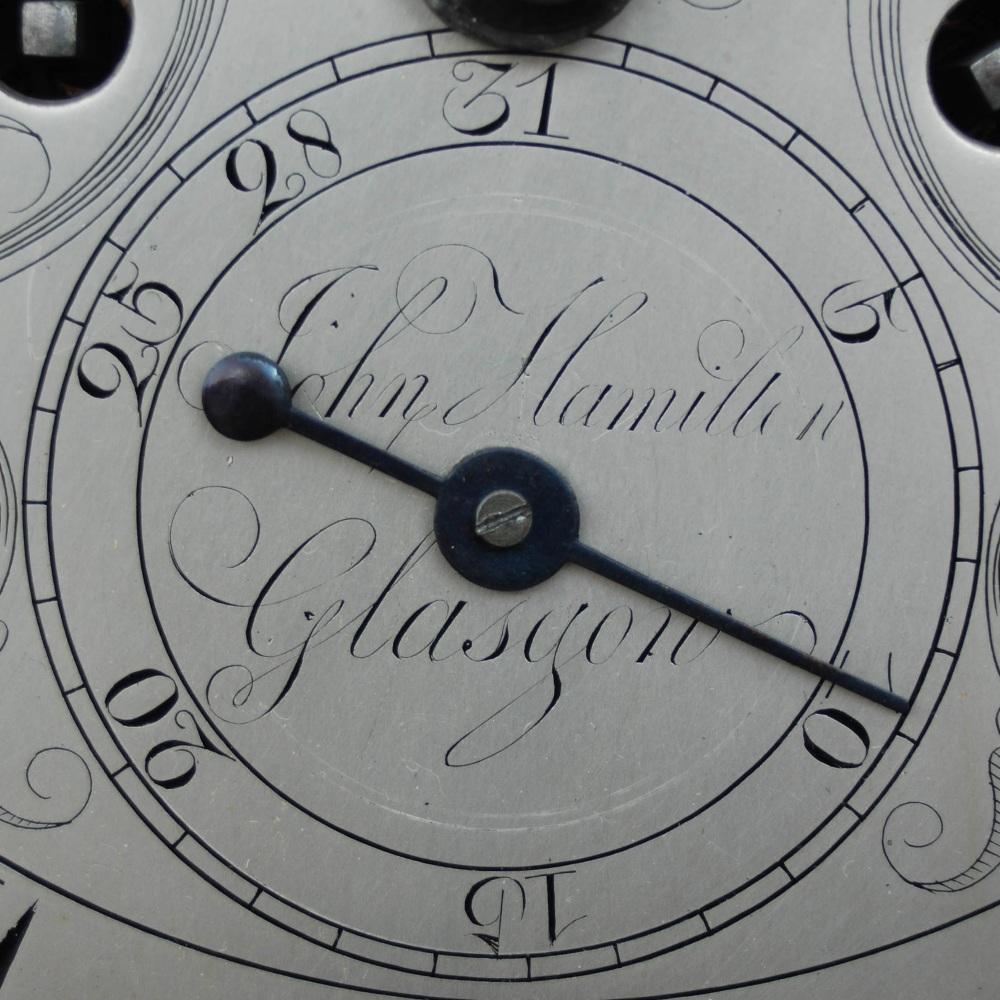 Lot 7 - A George III mahogany longcase clock of small proportion, John Hamilton, Glasgow, the circular
