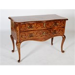 Lot 72 - An 18th century Italian walnut, marquetry and ormolu mounted serpentine commode, the shaped