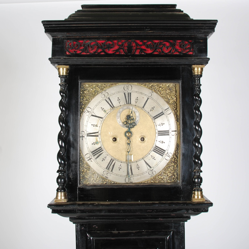 Lot 4 - An Antique ebonised longcase clock signed Jno. Wemyss, Edinb., the brass dial with silvered