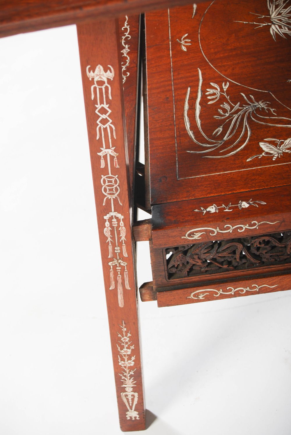 Lot 71 - A Chinese dark wood and ivory inlaid square shaped occasional table, late Qing Dynasty, the square