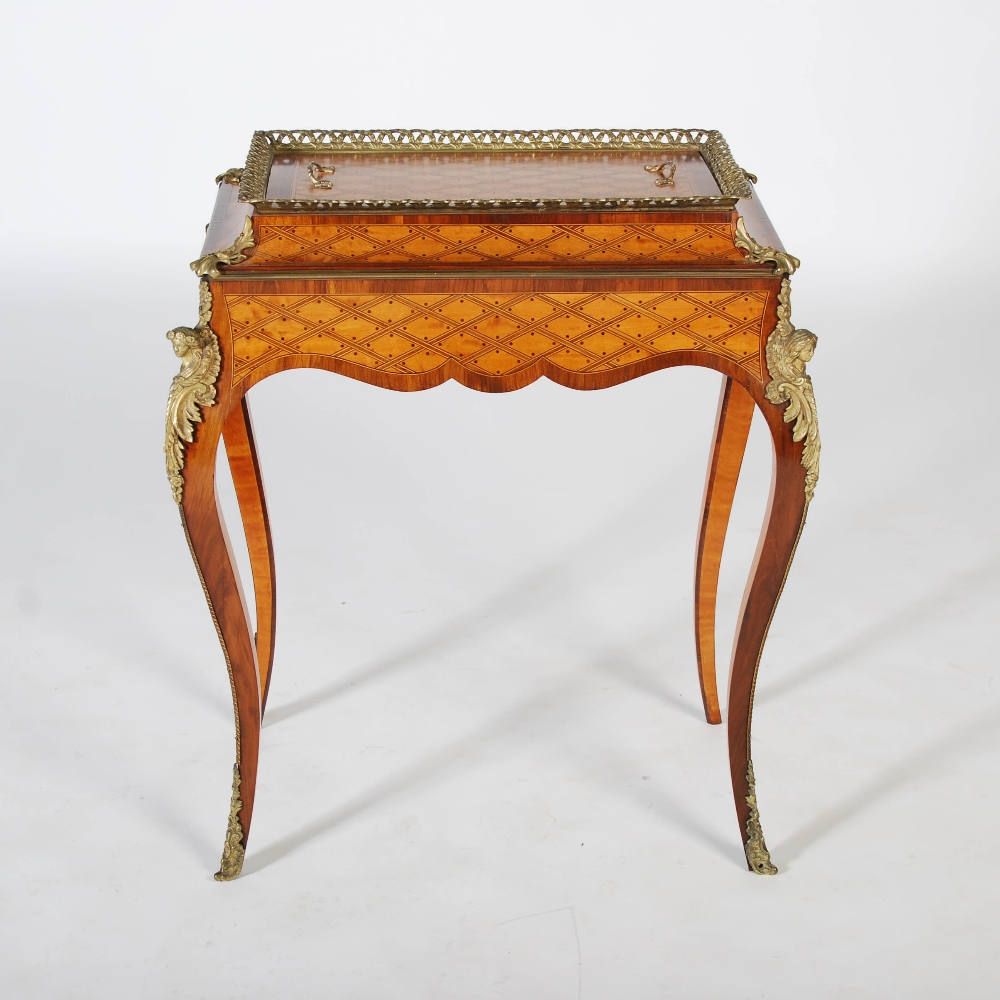 Lot 25 - A late 19th century kingwood, parquetry and gilt metal mounted jardiniere stand and cover, the