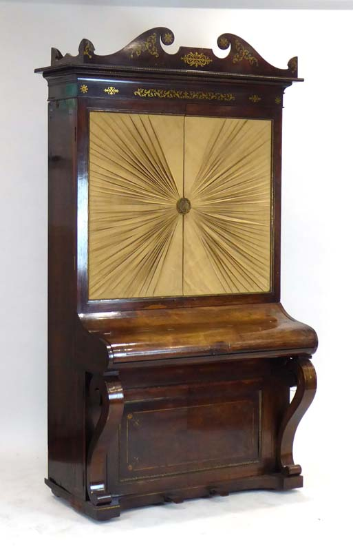 Lot 14 - An upright combined barrel piano by Henderson, London, later converted into a bookcase,