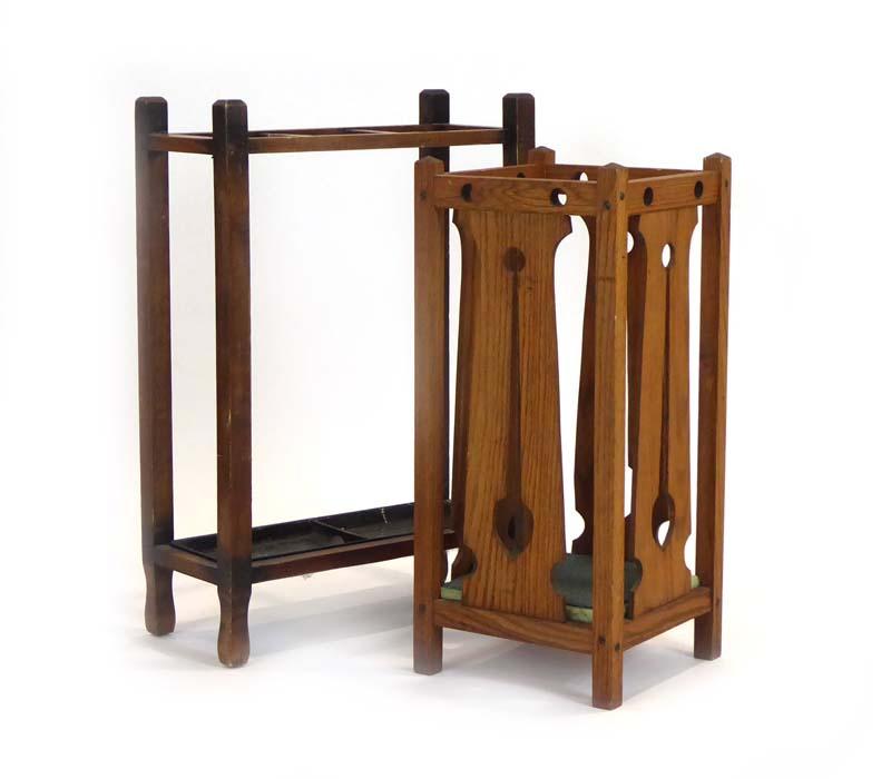 Lot 28 - A Commercial Arts & Crafts oak umbrella/stickstand,