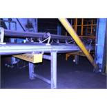 Orthos elevating belt sand conveyor, approx 0.9m x 18m, mounted on support legs with drop down shute