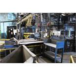 Twin lane product infeed conveyor system, approx 4.5m in length, fitted security netting fencing,