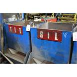 Two steel frame raw material loading hopper bins,1m x 1m x 1m capacity (Please Note: AET..