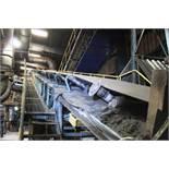 Orthos elevating belt sand conveyor, approx 0.9m x 30m, with additional 0.9m x 7m belt conveyor ,