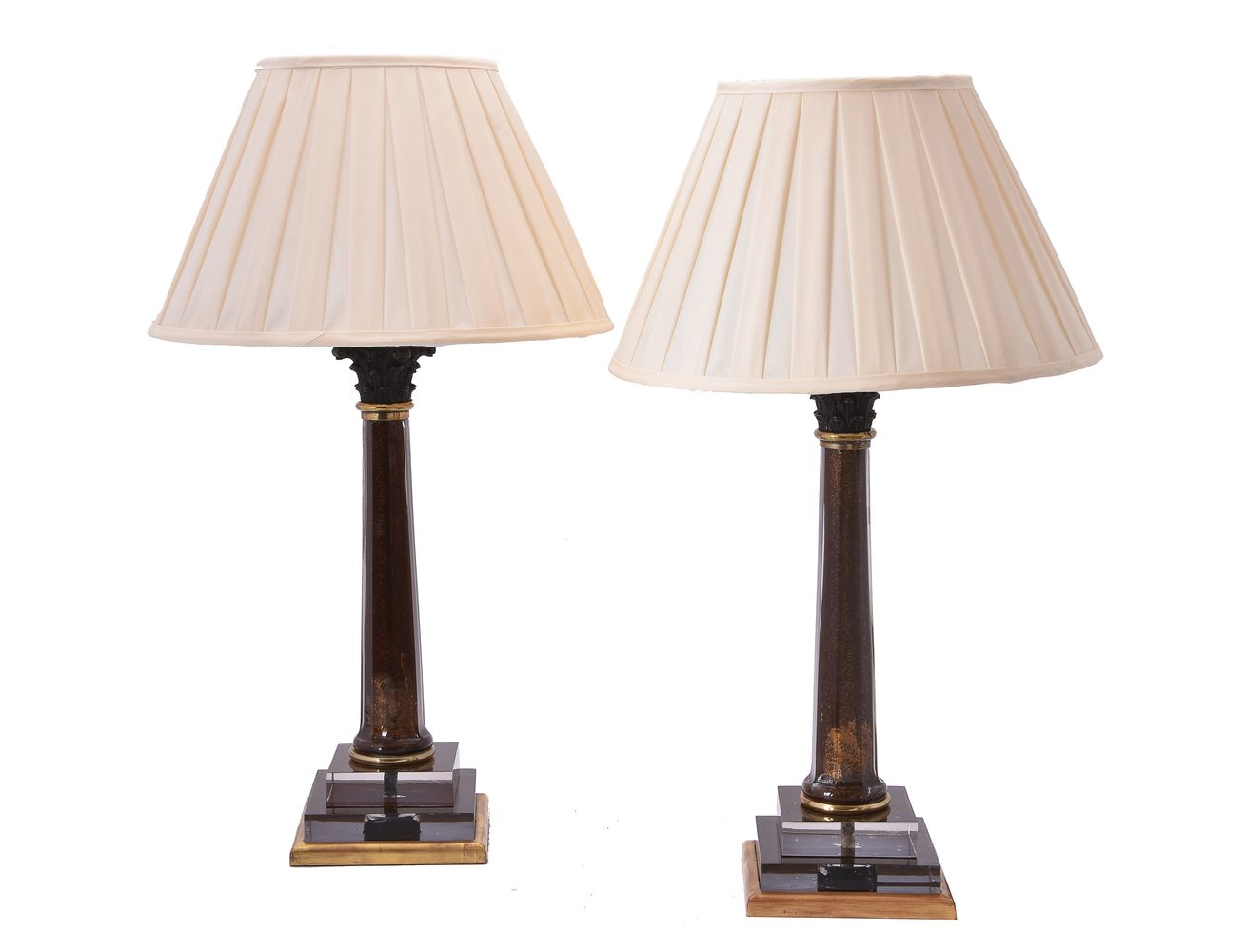 Lot 436 - A pair of gilt metal mounted tinted glass table lamps