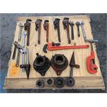Lot of Assorted Pipe Wrenches and Pipe Threading Components | (Location G61)