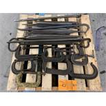 Lot of Assorted Pry Bars and C-Clamps | (Location G61)