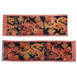 LONG DRAGON CARPET IN TWO PARTS. Origin: Tibet. Date: 18th-19th c. Technique: Pile from wool, dyed