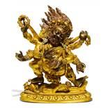 SADBHUJA MAHAKALA. Origin: Tibet. Technique: Old copper bronze with fire gilding, cold painting