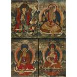 RARE SET OF FOUR THANGKA WITH EMANATIONS OF PADMASAMBHAVA (GURU RINPOCHE). Origin: Tibet. Date: 18th