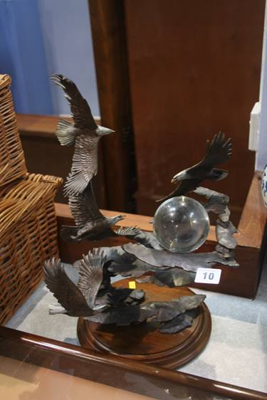 Lot 10 - A Franklin Mint Bronze eagle sculpture