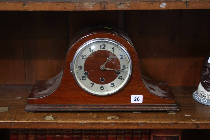 Lot 26 - A mahogany mantle clock and 1 other