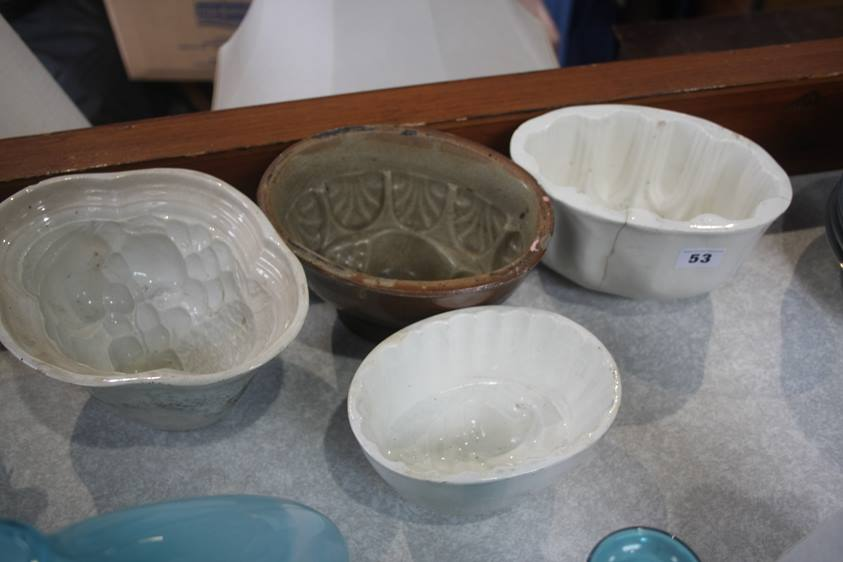 Lot 53 - Four jelly moulds