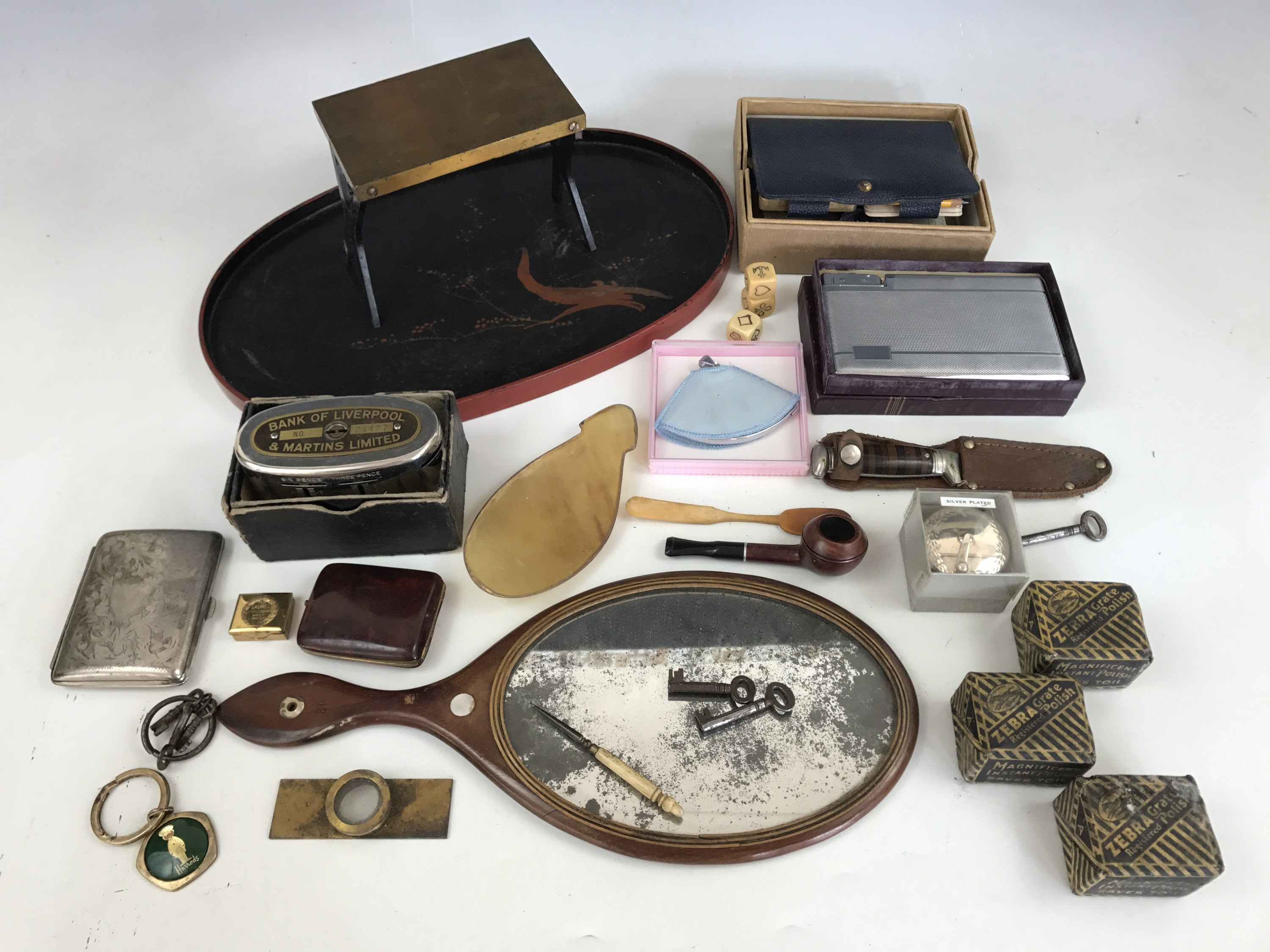 """Lot 51 - Sundry collectors' items including a microscope """"live"""" slide, briar pipe, packs of vintage Zebra"""