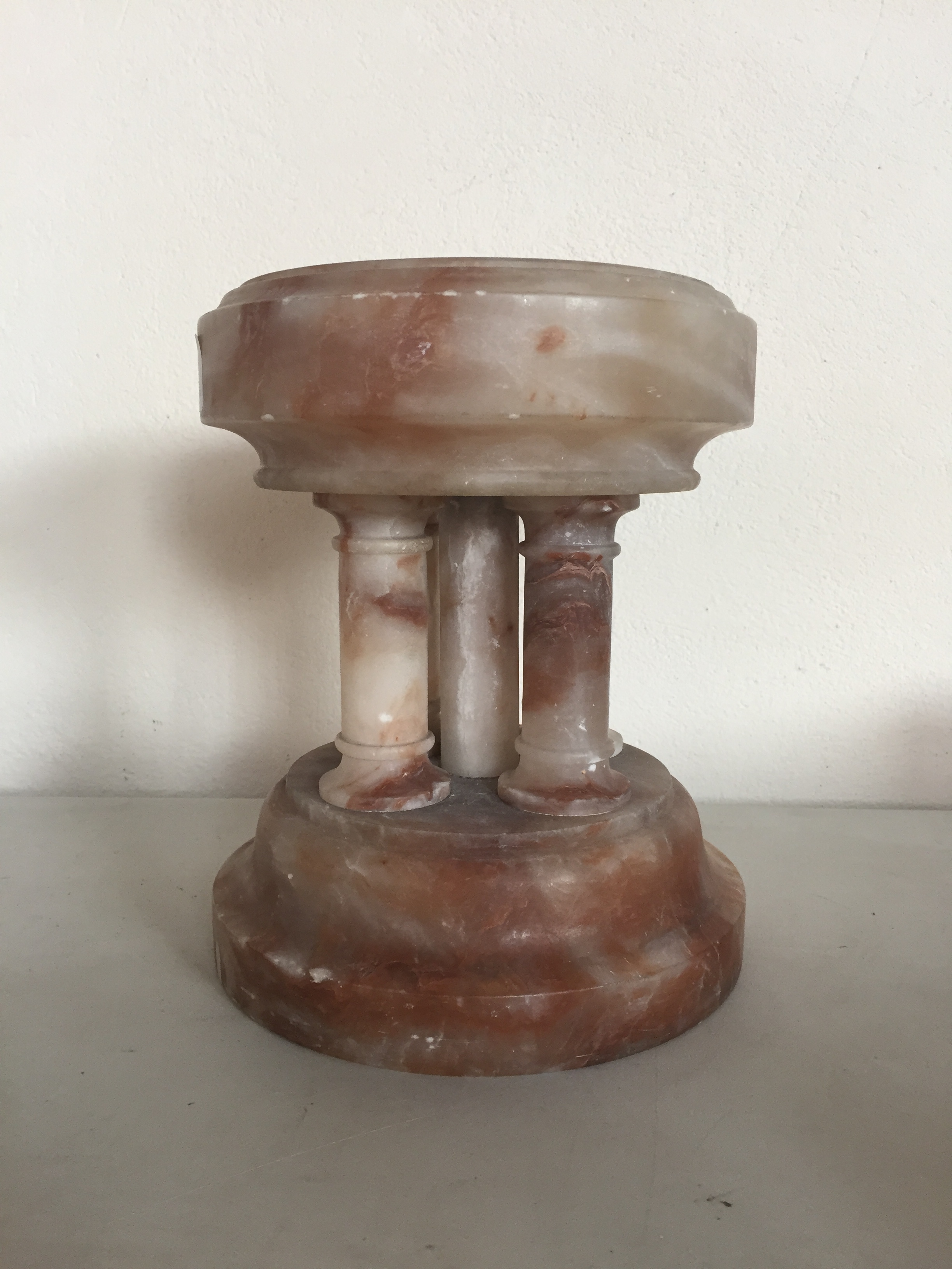 Lot 43 - A Victorian alabaster columnar Holy Water stoop
