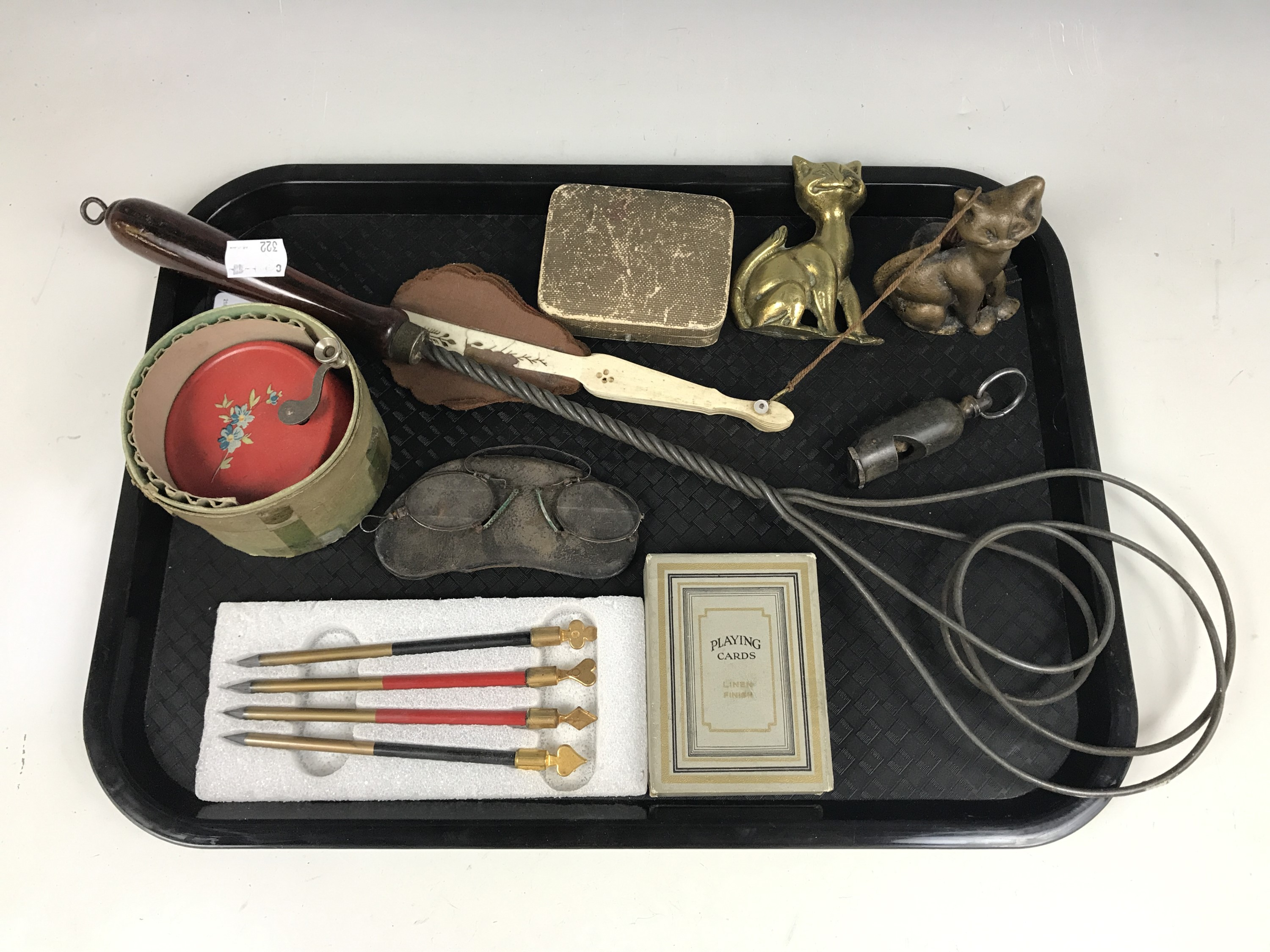 Lot 59 - Sundry collectors' items including a musical toy, pince-nez glasses, playing cards, a horn whistle
