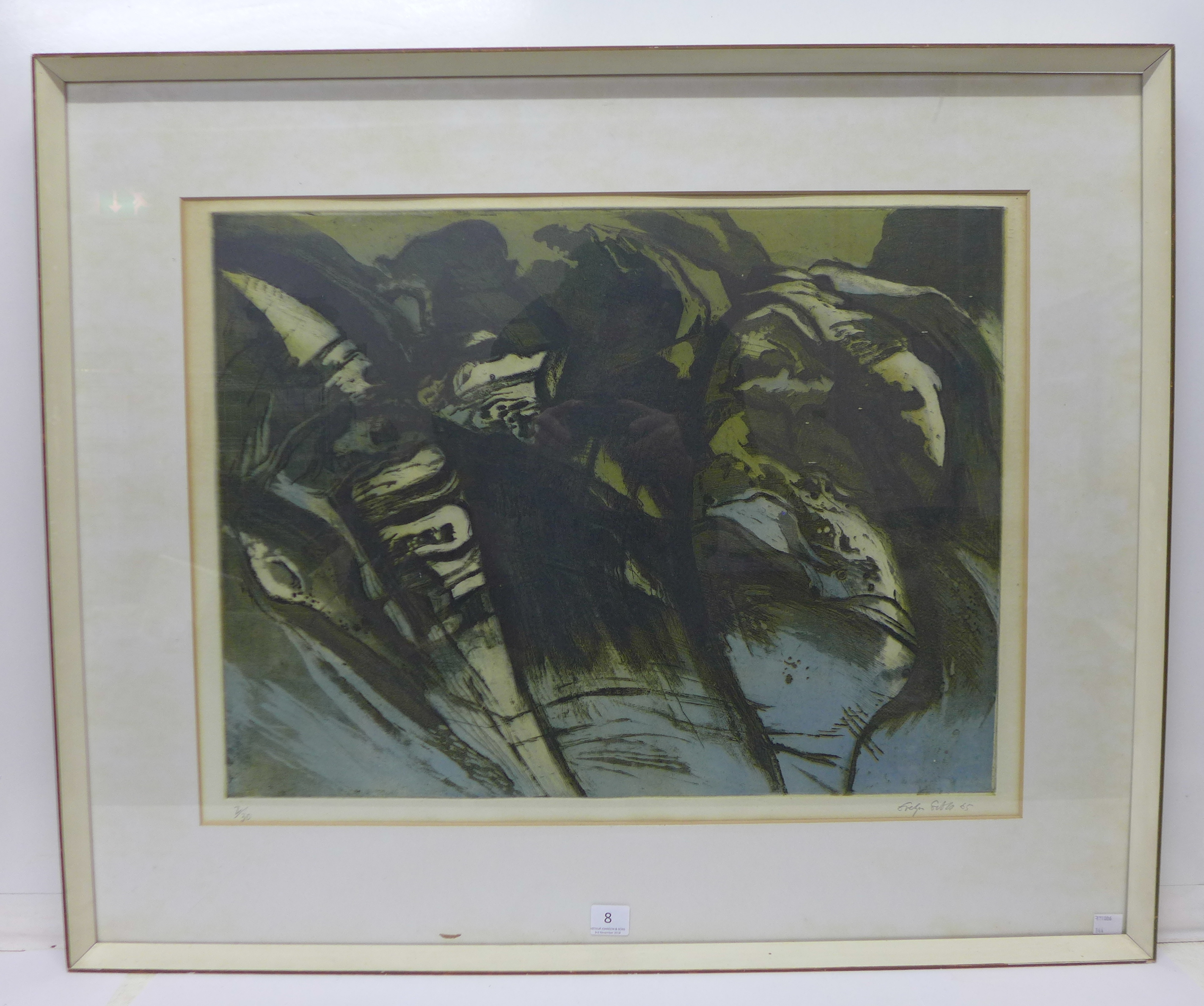 Lot 21 - A signed Evelyn Gibbs (British 1905-1991) limited edition abstract etching, dated 1965,