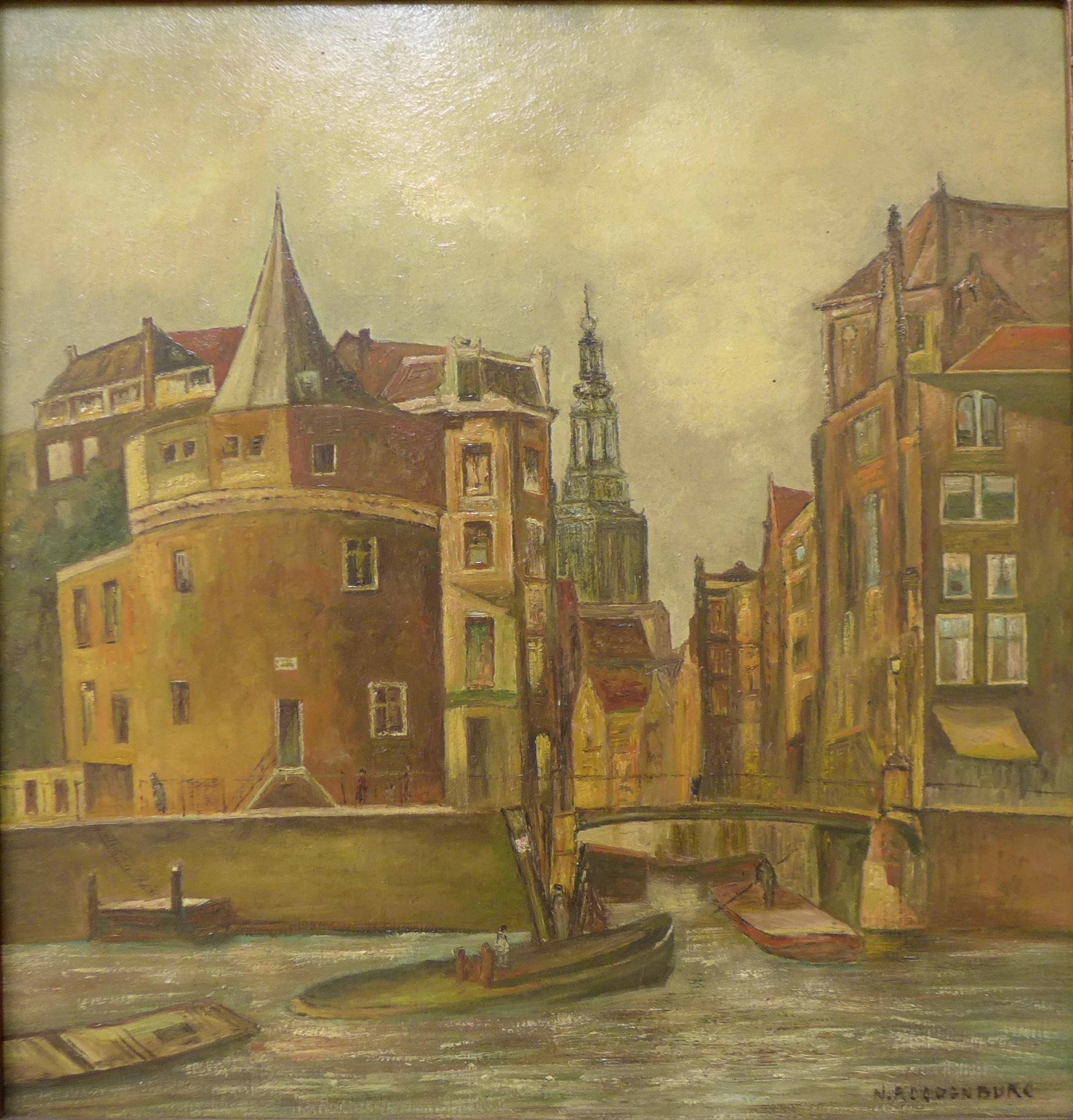 Lot 1 - Flemish School, canal scene, oil on panel, indistinctly signed, 52 x 50cms,